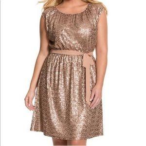 LANE BRYANT NWT Gold Sequin Cocktail Dress Plus 20